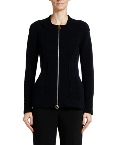 Ottoman Ribbed Zip Front Jacket