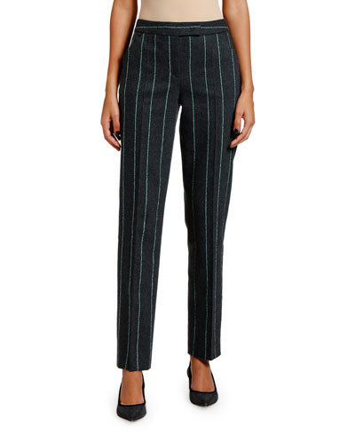 Striped Flannel Zip-Front Pants