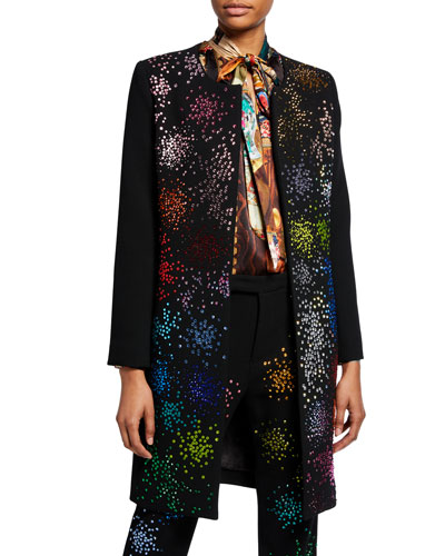 Mo' Monet Mo' Problems Bead-Embellished Duster Coat