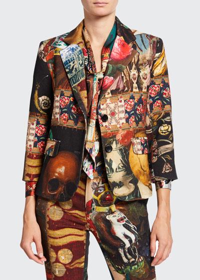 Memento Mori Mixed Media Two-Button Wool Blazer