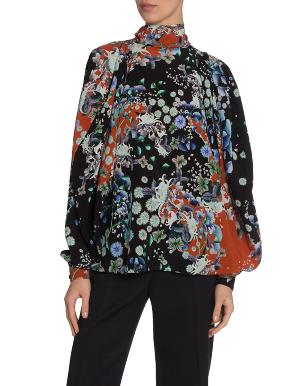 Givenchy Tops FLORAL SILK HIGH-NECK BLOUSE