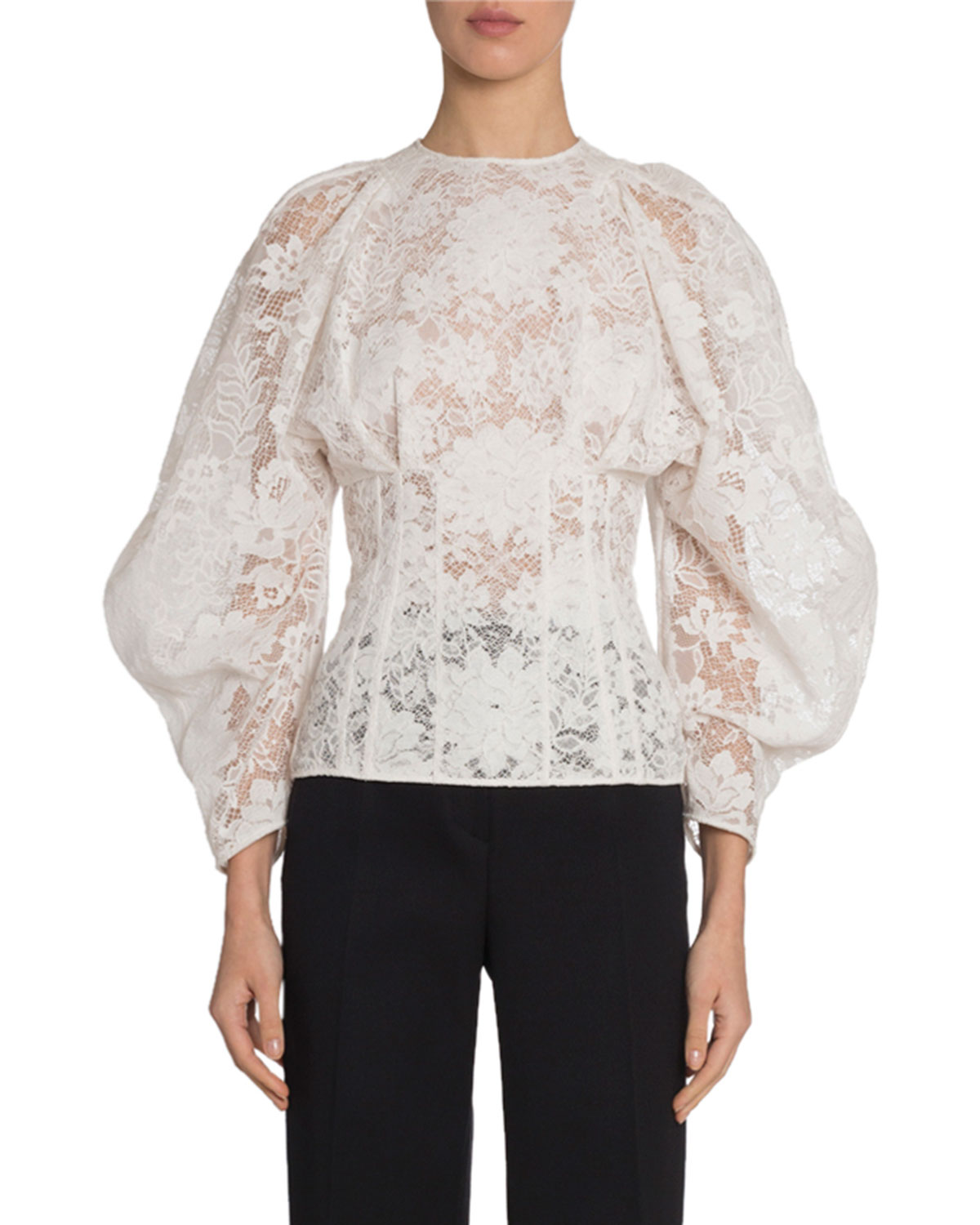 Givenchy Tops LACE CORSETED WIDE-SLEEVE TOP