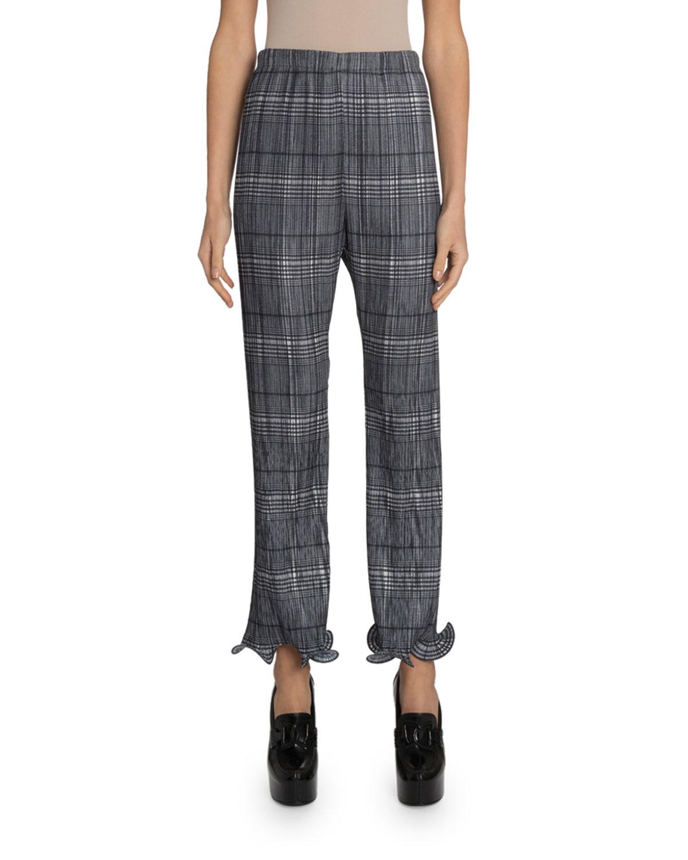 Givenchy Pants PLAID PLISSE RUFFLED TRIM CROP PANTS