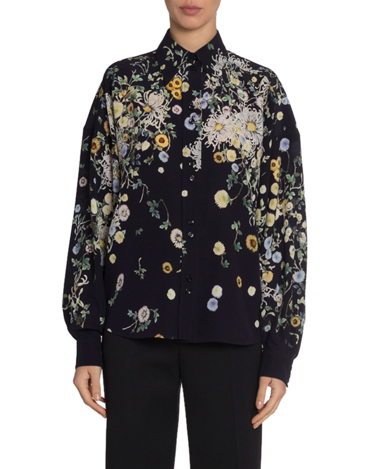 Givenchy Tops FLORAL-PRINT SILK WIDE-SLEEVE BLOUSE