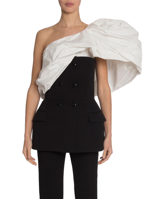 Givenchy Tops TAFFETA PUFFY SHOULDER TOP