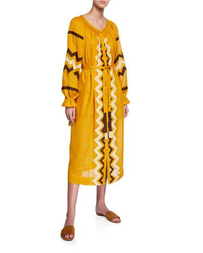 Zigzag Linen Long-Sleeve Belted Midi Dress
