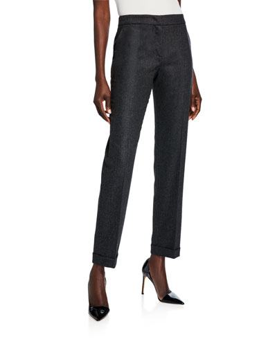 Cashmere-Wool Zip-Front Pants