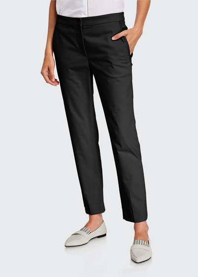 Monili-Beaded Straight-Leg Cotton Pants
