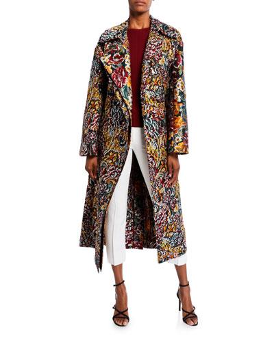 Floral Brocade Long Coat