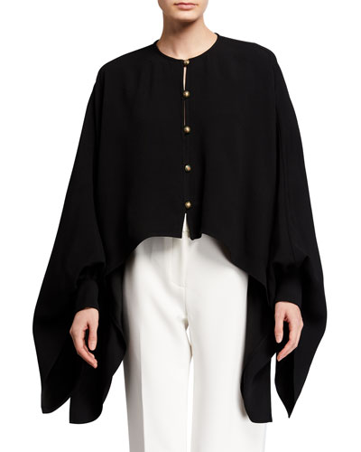Oversized Draped-Sleeve Button-Front Blouse