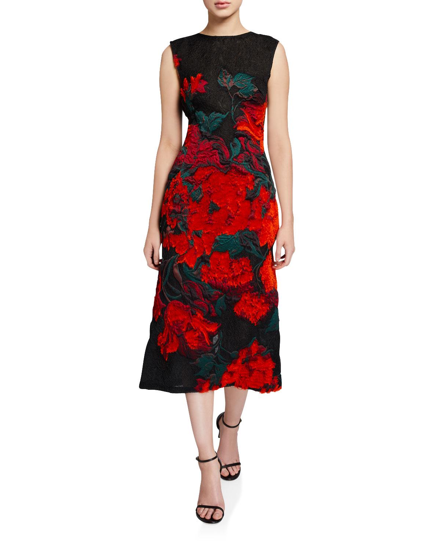 Oscar De La Renta Dresses FLORAL-EMBROIDERED LACE MIDI DRESS