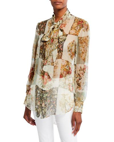 Floral Patchwork-Print Chiffon Tie-Neck Blouse