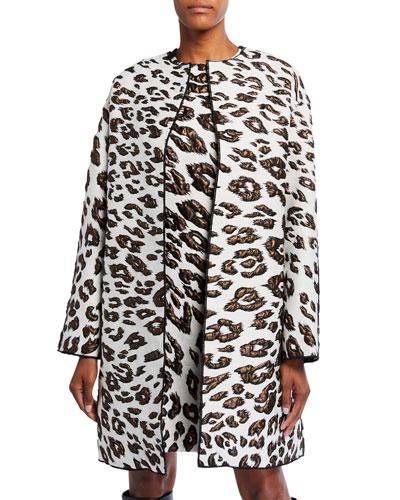 Leopard Print Brocade Coat