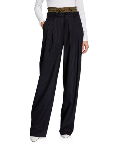 Pinstriped Elastic-Waist Trousers