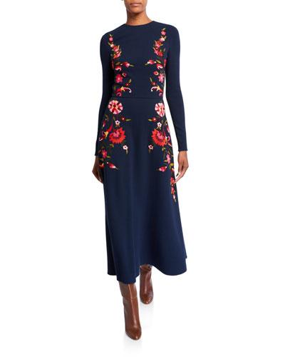 Rose-Side Wool Day Dress
