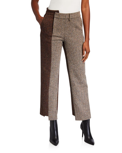 Two-Tone Asymmetric Herringbone Pants