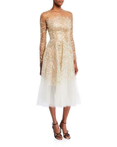 Embroidered Tulle Illusion Cocktail Dress