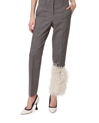 Feather-Patch Mid-Rise Skinny Pants
