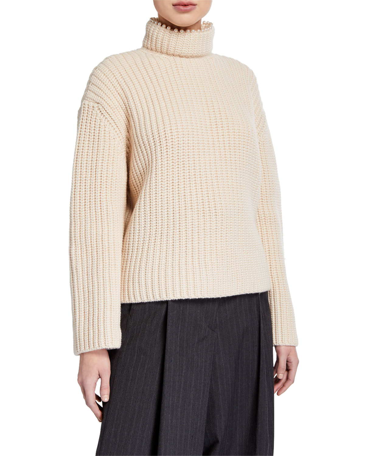 Loewe Sweaters CASHMERE PEARLY-NECK OPEN-BACK SWEATER