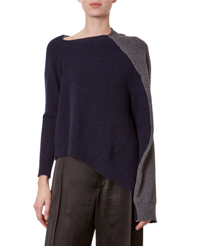 Colorblock Asymmetric Sweater
