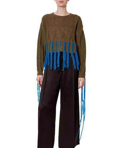 Two-Tone Fringed Crop Sweater