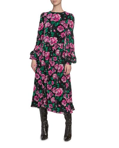 Floral-Print Velvet Blouson-Sleeve Dress