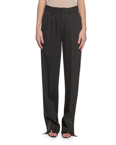 Pleated-Front Wool Straight-Leg Pants