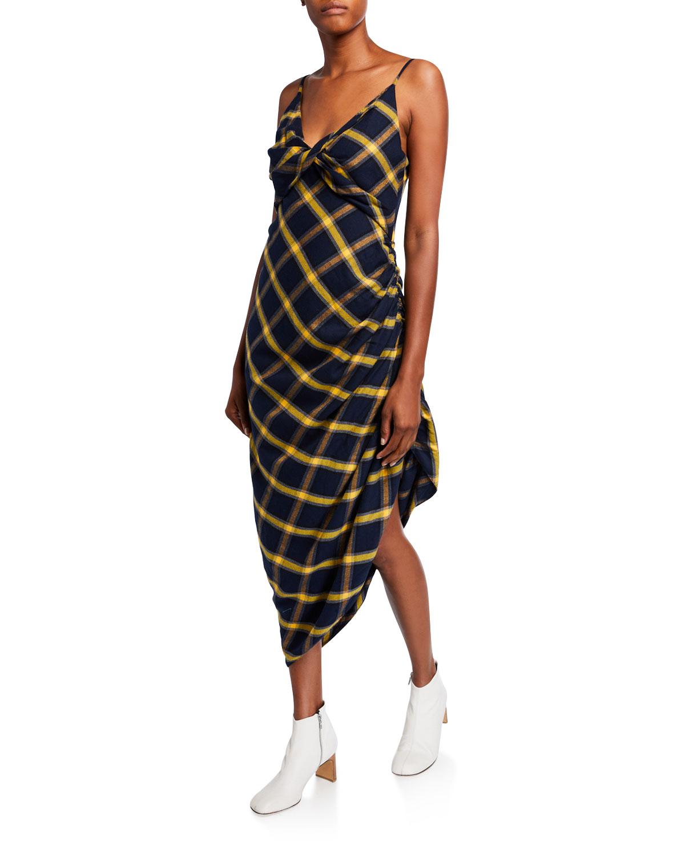Monse Dresses PLAID RUCHED MIDI DRESS