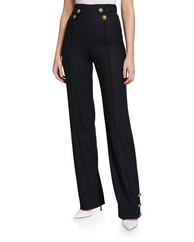 High-Waist Enamel-Button Pants