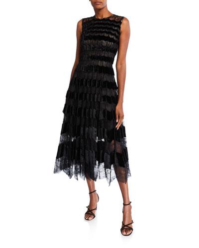 Mesh & Velvet Cocktail Dress