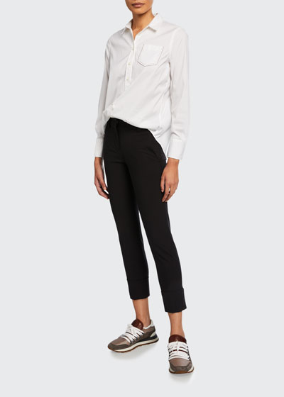 Monili-Cuffed Wool Slim-Leg Pants