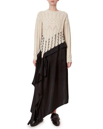 Satin-Hem Cable-Knit Dress