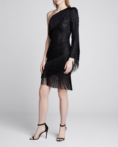 One-Shoulder Fringed Stretch-Lace Dress
