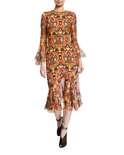 Rania Geometric Print 3/4-Sleeve Midi Dress
