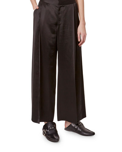 Satin Pleated Cropped Pants