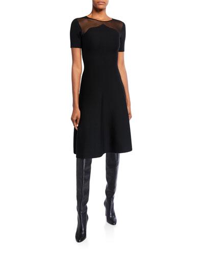 Knit Mesh-Shoulder Day Dress