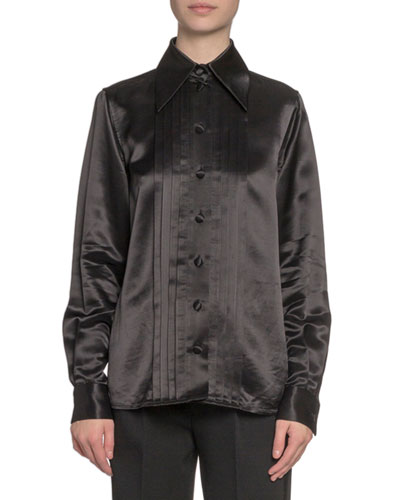 Pleated Satin Button-Front Blouse