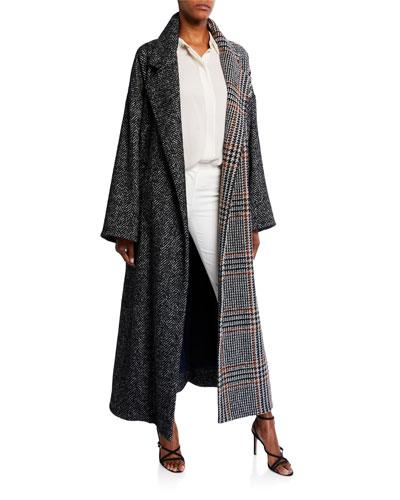 Multiprint Wool-Silk Oversized Coat
