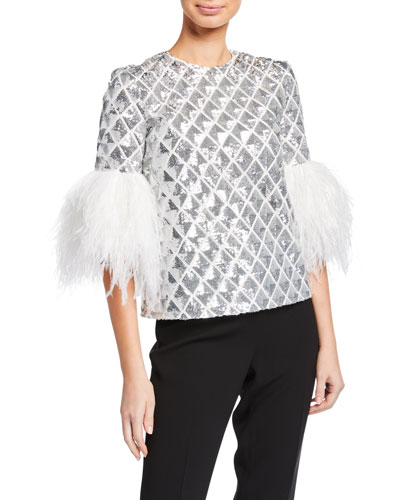 3/4-Sleeve Sequin Quilted Blouse w/ Feather Cuffs