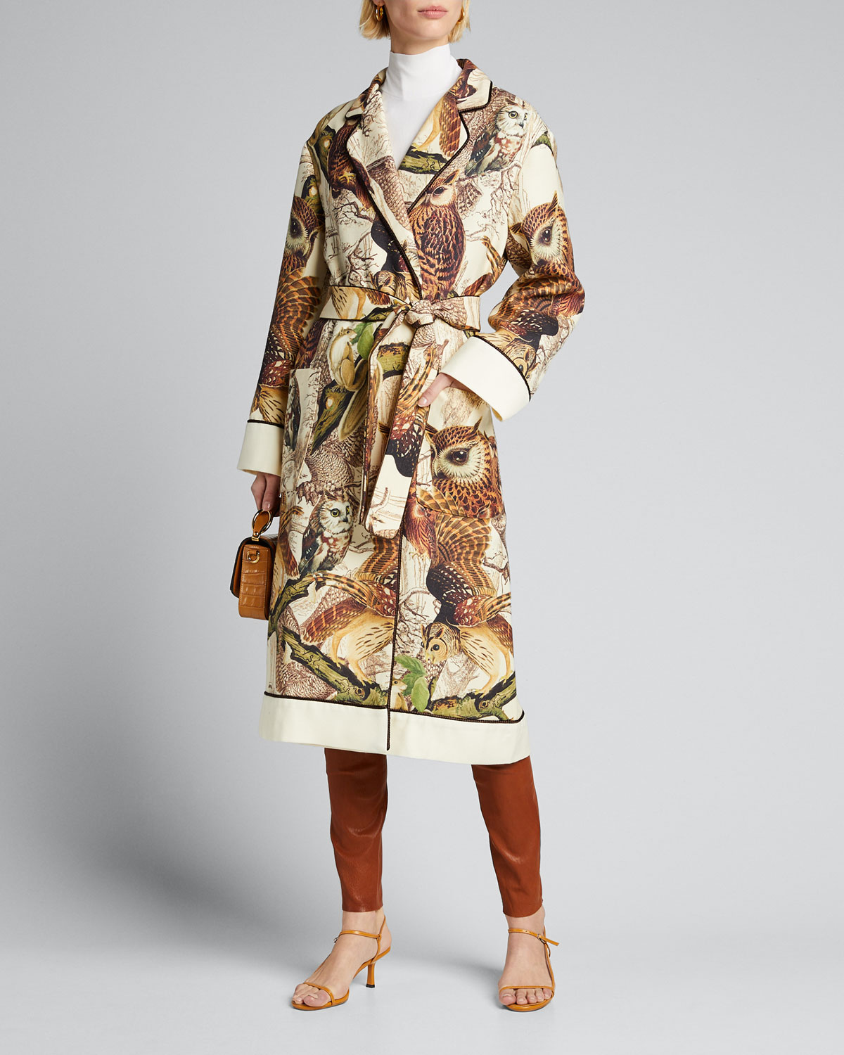 F.r.s For Restless Sleepers Tops OWL PRINT BELTED WOOL ROBE
