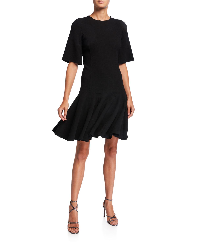 Oscar De La Renta Dresses SHORT-SLEEVE FLOUNCE DAY DRESS
