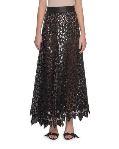 Sequined Leaf Lace Midi Skirt