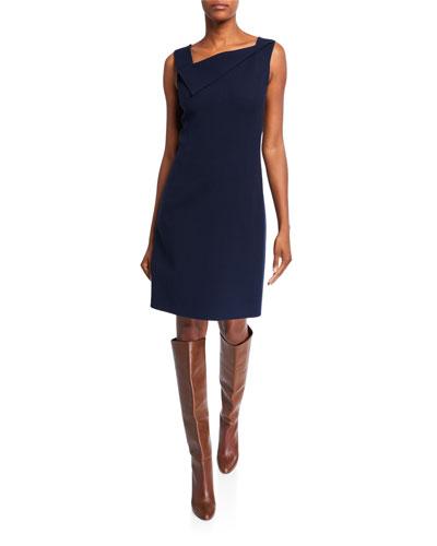 Crepe Asymmetric-Neck Sheath Dress