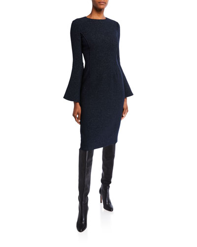 Shimmered Crepe Bell-Sleeve Day Dress