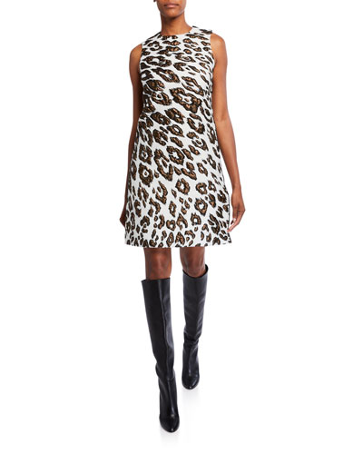 Leopard Brocade Day Dress