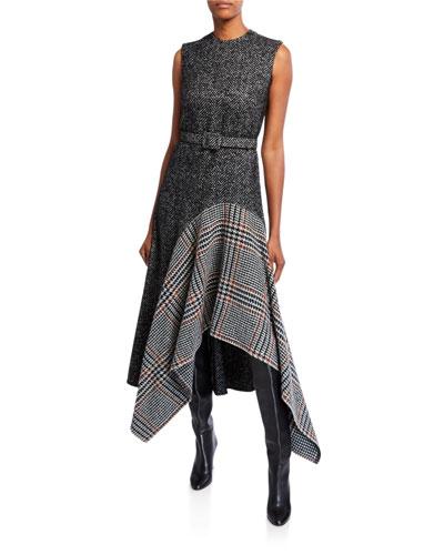 Multiprint Wool-Silk Day Dress