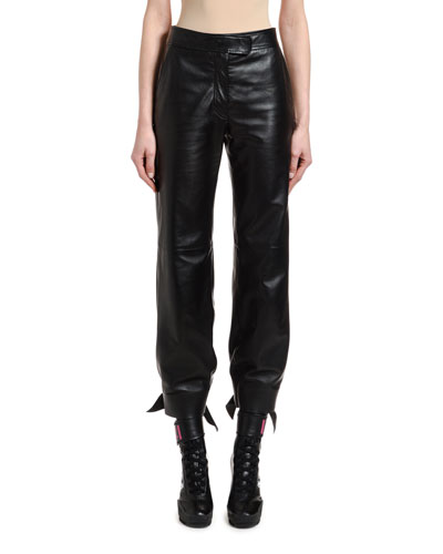 Leather High-Waist Bow Pants
