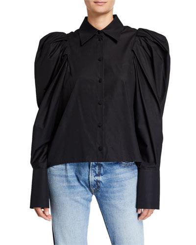 Brianne Puff-Sleeve Button-Front Shirt