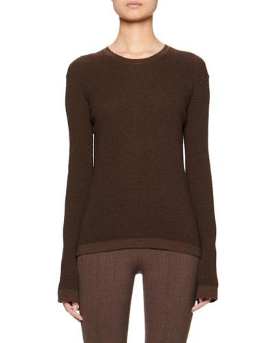 Cass Long-Sleeve Silk-Cotton Knit Top