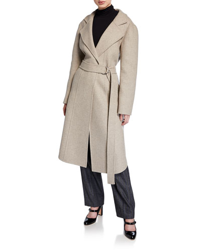 Wool-Blend Long Belted Jacket